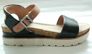 Josef Seibel Size 41 Black Leather Sandal Flatform Platform Comfort Shoe Brown
