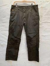 KUHL Revolvr Medium Duty Cotton Nylon Hiking Work Pants 34 Distressed Green