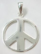 """100%REAL925 sterling silver BIG ROUND """"PEACE SIGN"""" plain PENDANT - TEEN BOY GIRL"""