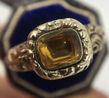 Antique Georgian Citrine Ornate Detail Ring Large Closed Back Band Yellow Gold