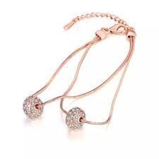 AZZURRE Women's 18K Rose Gold Filled Twin Ball Czech Crystal Bangle Bracelet