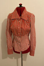 Ladies VIVIENNE WESTWOOD Anglomania TARTAN Blouse Pirate Shirt - Size 40 - Small