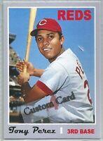 TONY PEREZ CINCINNATI REDS 1970 STYLE CUSTOM MADE BASEBALL CARD BLANK BACK