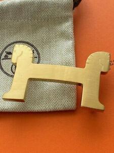 Genuine 38MM HERMES Belt Buckle Gold Brushed Horse Cheval