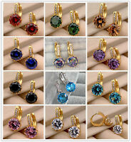18K Earrings 9mm Big Round Topaz Zircon Hoop Women men Party Ear stud Wedding L8