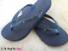 Crystal flip flops HAVAIANAS Navy or low wedge using SWAROVSKI CRYSTALS Navy