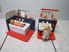 2 Piece Antique/Vintage German Doll Furniture - Bathroom Sink & BathTub w/Dolls