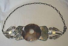 Vintage Faux Tortoise Shell & Antiqued Silver-Tone Chain Ladies Belt, Women's M