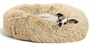 Luxury Pet Bed Fluffy Large Tan Donut Kitten Puppy Cushion Calming Indoor