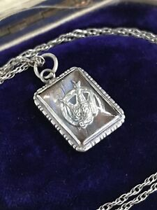 Vintage Sterling Silver Morpho Butterfly Wing Swallow Bird Horseshoe Necklace