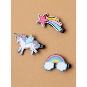 Rainbow motive girls hair beak clips, Unicorn, Rainbow ,star