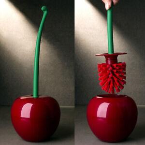 Red Cherry Toilet Brush Holder Set Bathroom Cleaning Kit Brushes Cleaner Home