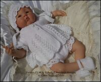 "KNITTING PATTERN REBORN DOLL OR BABY LACY EDGED SET F138 16-22"" DOLL 0-3M BABY"