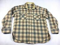 Vintage Woolrich Brown Plaid Long Sleeve Button-Down Wool Shirt - Men's Size L
