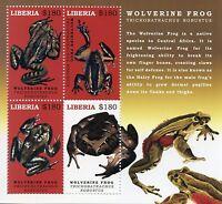 Liberia 2017 MNH Wolverine Frog 4v M/S Amphibians Frogs Stamps