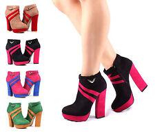 """Black nn Ankle Boots Stilettos Platform Liat's Womens 5"""" Heel Shoes Size 6"""