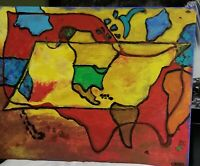 Large Original Abstract Acryl painting view of world on stretch Canvas signed