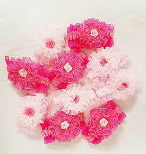 10pcs Pink Flower Elastic Hair Bands Ponies Bow Accessory Party Bag