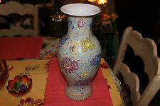 Stunning Chinese Japanese Vase-Butterflies & Flowers-Marked Bottom-Large-Colors