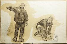 GILBERT Victor (1847-1933) Attribué à. Grand DESSIN Etude de Personnages