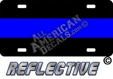 Thin Blue Line LEO Reflective Metal License plate / tag + 2 free decals Police