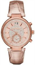 MICHAEL KORS MK2445 Sawyer Rose Gold Crystal Pave Dial Leather Ladies Watch