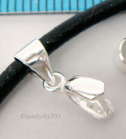 2x STERLING SILVER PINCH IN PENDANT BAIL CLASP CONNECTOR SLIDE #1696