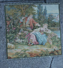 Vintage Pillow Tapestry Victorian couple country Pastoral Scene Italy marked