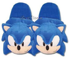 "Sonic plush Slippers Blue Hedgehog Adult 10 1/4"" LONG House Shoes SUNCOAST NWT"