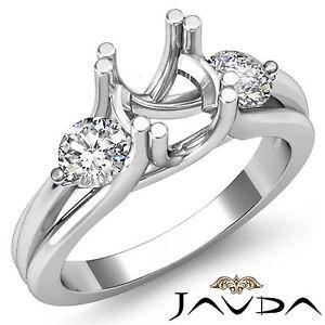 3 Stone Diamond Wedding Round Mount Ring 18k White Gold Criss Cross Shank 0.5Ct
