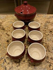 Emile Henry Soup Tureen With 6 Matching Bowls Hard To Find Color NEW