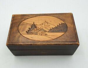 Swiss Pyrography Trinket Box 12 x 7 x 5cm