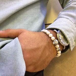 Handgefertigtes Löwen Armband mit HOWLITH Perlen Lion Buddha Bracelet Fashion X5