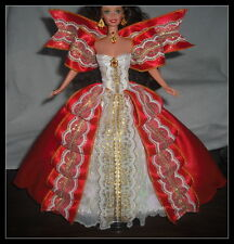 DRESS MATTEL BARBIE  SUPERSTAR HOLIDAY RED WHITE GOLD BALL EVENING GOWN & SHOES