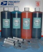 64oz 4 pint / 16 oz b/c/m/y ink kit refill any printer HP Epson Dell Lexmark Can