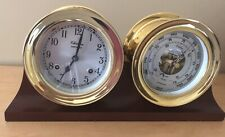 Authentic Chelsea Shipstrike Brass Clock and Barometer w/ Mahogany Display Base