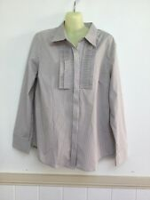 Noni B Au 14 Grey Stripe Business Office Corporate Shirt Top