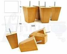 4x WOODEN FEET - REPLACEMENT FURNITURE LEGS FOR SOFA, CHAIRS, STOOLS M8(8mm)