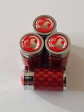VAUXHALL RED Carbon Fiber alloy Wheel Valve Dust caps All Models CORSA ASTRA