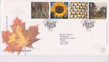 GB Royal Mail FDC primo giorno COVER 2000 Albero & FOGLIA TIMBRO SET St Austell PMK