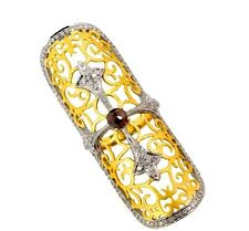 14k Gold CROSS Signet Full Finger Long Ring .925 Silver Pave 2ct Diamond Jewelry