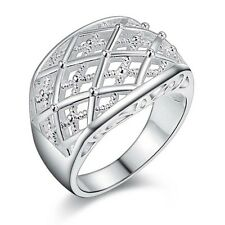 Ring Cross Stylish Chunky Textured Ladies 925 Sterling Silver Plated Size 8
