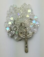 Clear Crystal AB Cube Catholic Rosary Beads-Our Lady Sacred Heart-Trinity Cross