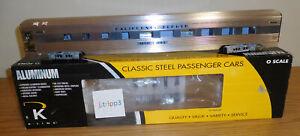 """K-LINE K4613-48449 CALIFORNIA ZEPHYR ALUMINUM PASSENGER 21"""" SLEEPER CAR O SCALE"""