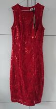 Red Lace sequin embellished shift dress M&S Per Una Premium  size 8  was £79