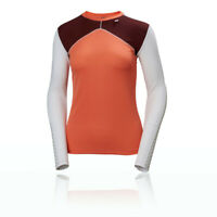 Helly Hansen Womens HH Lifa Crew Baselayer Top Orange Sports Running Warm