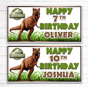 2 PERSONALISED JURASSIC WORLD BIRTHDAY BANNERS ANY AGE ANY NAME DINOSAUR
