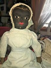 Early Antique cloth doll Rare Beecher Style black americana Orig clothes + eyes