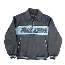 Vintage Avirex 'Nitro Run' Blue Leather Jacket, Size Large
