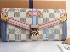 Auth New Louis Vuitton Summer Trunk Sarah Wallet Clutch Bag Damier Azur 2018